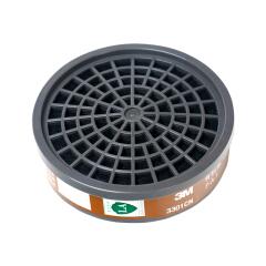 3M 3301CN 有机蒸气滤毒盒,防护有机气体及蒸气,如苯及其同系物、汽油、二硫化碳等,配上3N11CN预过滤棉及385CN滤棉盖后可用于喷漆防护;XH003815491