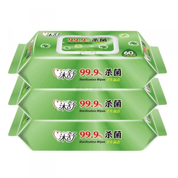 沐舒 草本抑菌湿巾,EDI纯水,60片/包,10包/箱;沐舒卫生湿巾