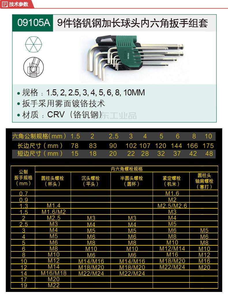 世达 9件铬钒钢加长球头内六角扳手组套1.5-10mm;09105A