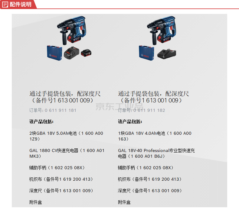 博世(BOSCH) 锂电充电式无刷锤钻(2电1充 5.0Ah)新款;GBH 180双电版;GBH 180双电版