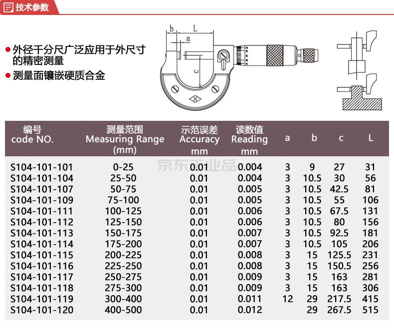 上量 外径千分尺,量程:25-50/±0.004;S104-101-104