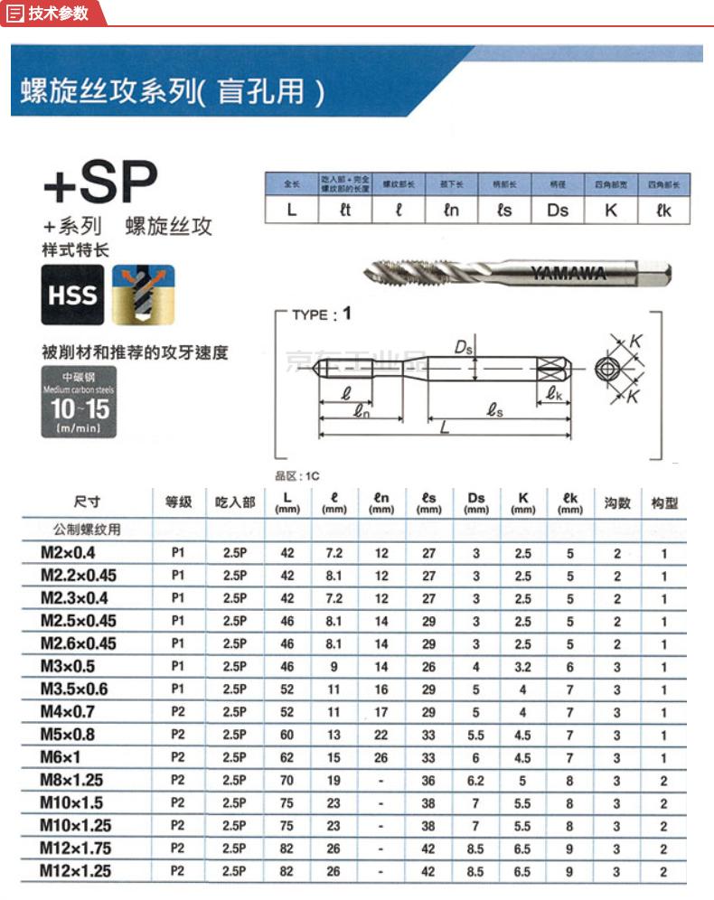 YAMAWA 标准型公制牙螺旋机用丝攻(升级版);+SP P2 M6X1