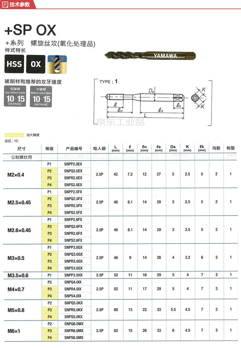 YAMAWA 标准型公制牙螺旋机用丝攻(升级版);+SP OX P2 M6X1
