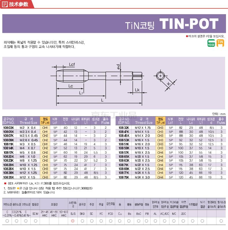 KOSG/韩国欧士机 镀钛直槽丝锥 10817K TIN-POT M5x0.8