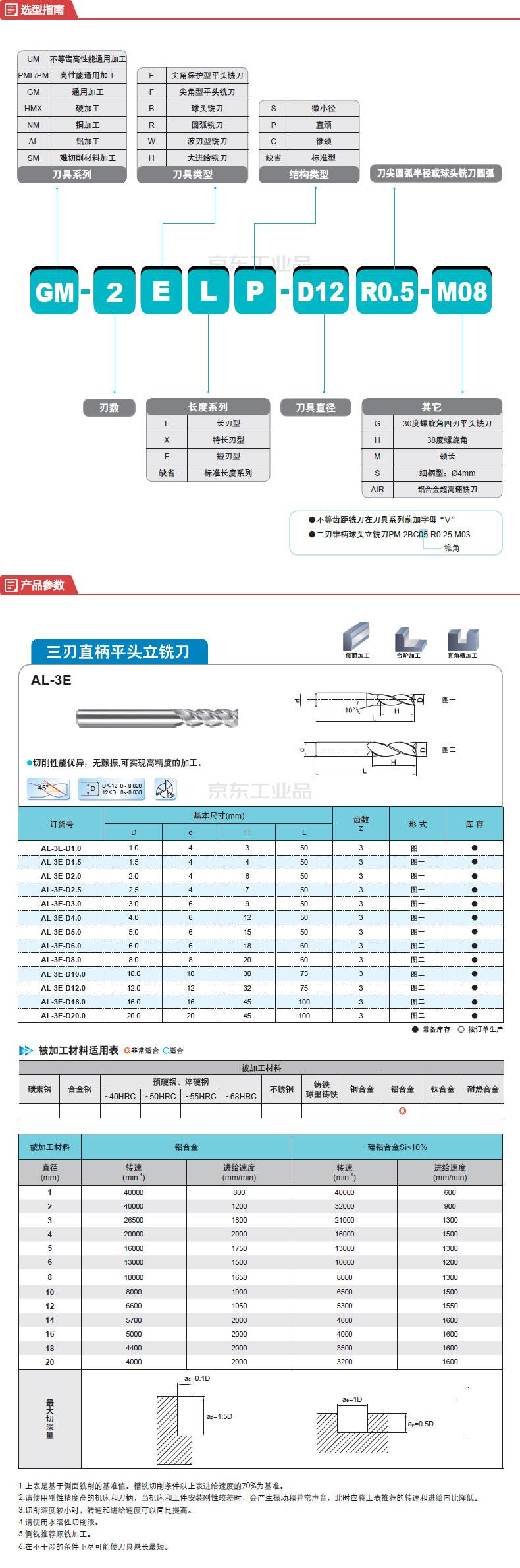 株洲钻石 平头型铣削刀具;AL-3E-D8.0 YK30F