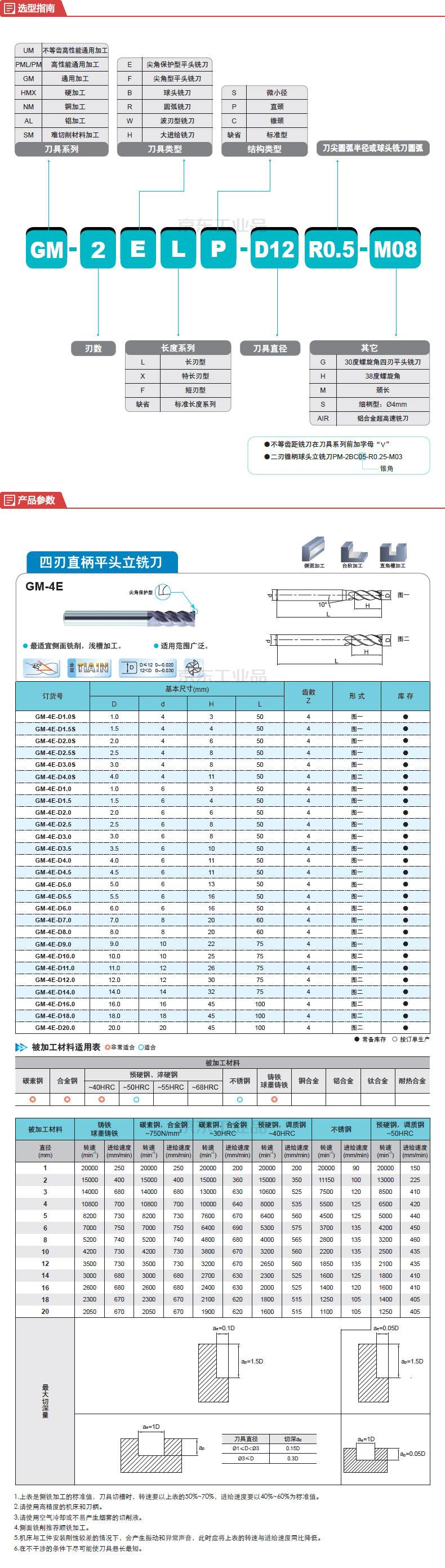 株洲钻石 平头型铣削刀具;GM-4E-D10.0 KMG303