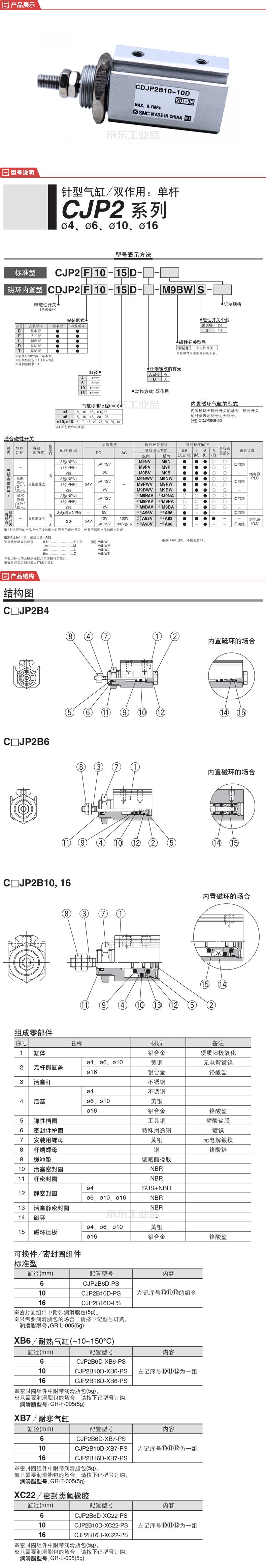 SMC 标准型针形气缸;CDJP2B10-10D