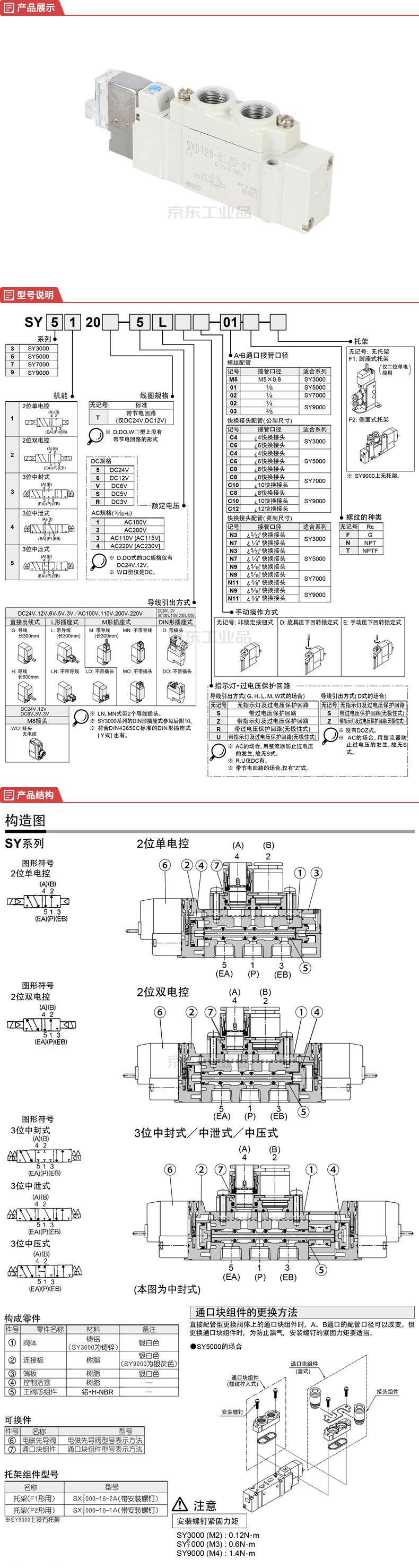 SMC 5通电磁阀,直接配管型/单体式;SY5120-5LZD-01