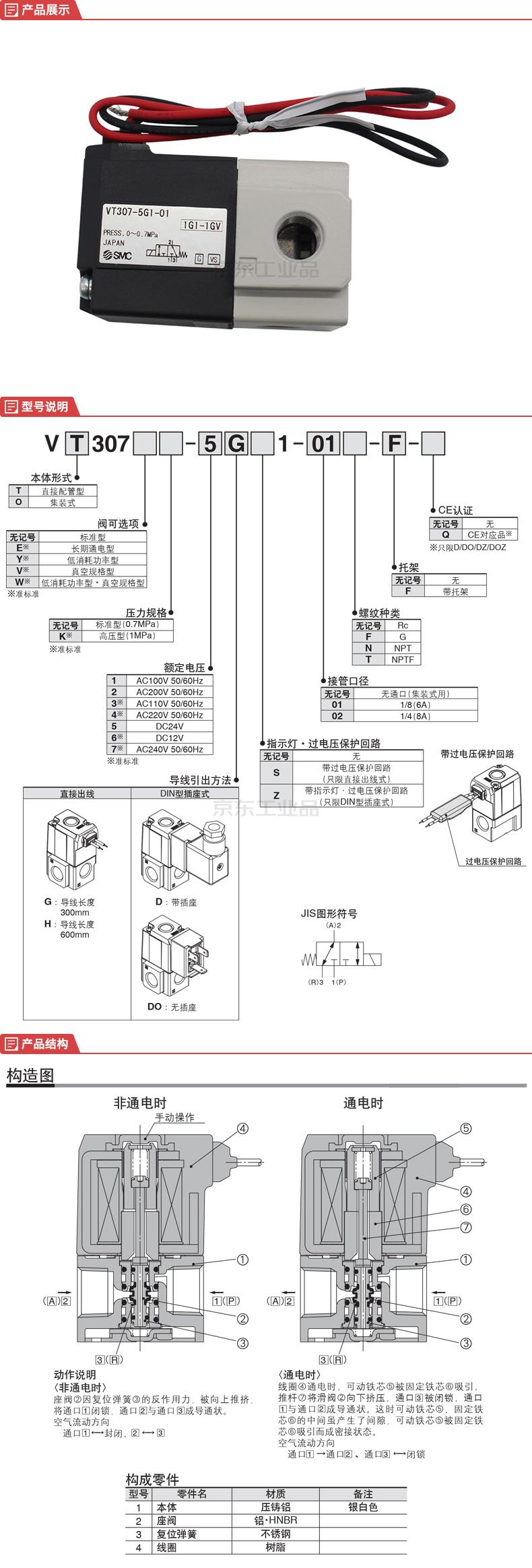 SMC 3通电磁阀/直动式座阀;VT307-5G1-01
