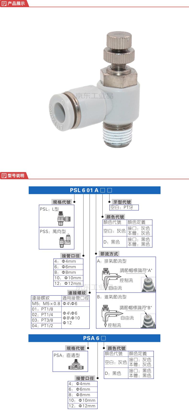 亚德客(AirTAC) 节流阀,L型【螺纹3/8