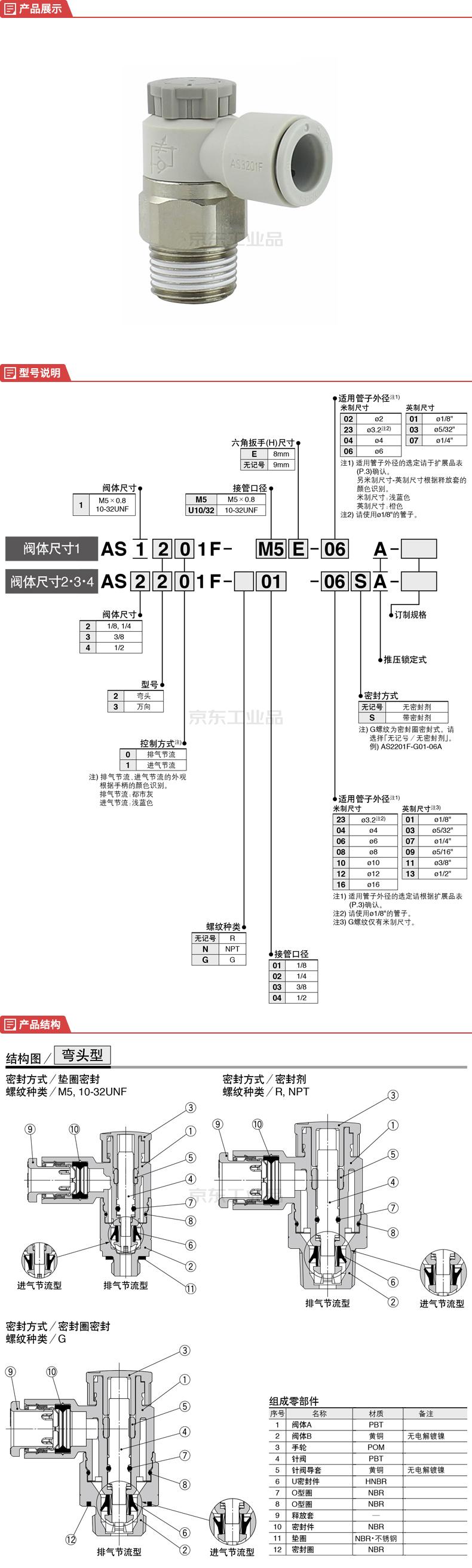 SMC 速度控制阀,弯头型;AS2201F-01-06SA