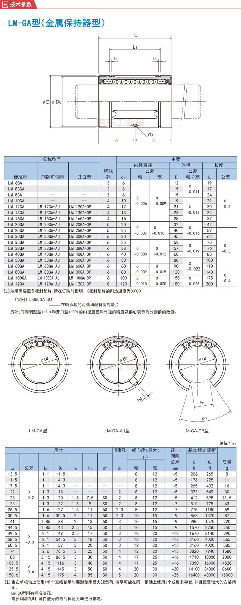 THK 直线轴承直通型;LM12GA