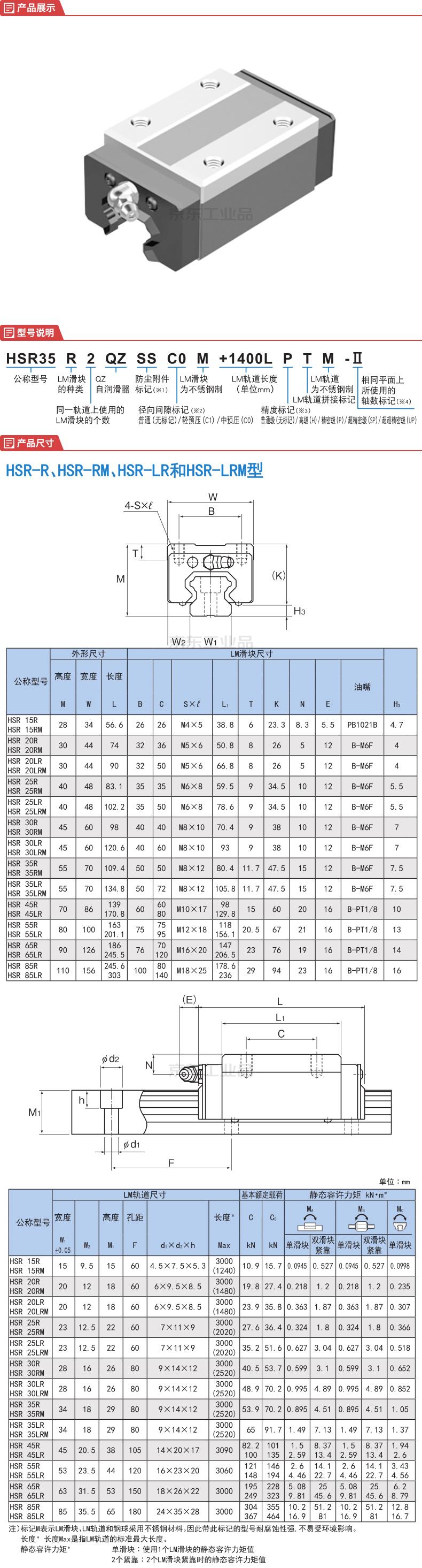 THK HSR滑块单体;HSR20R1SS