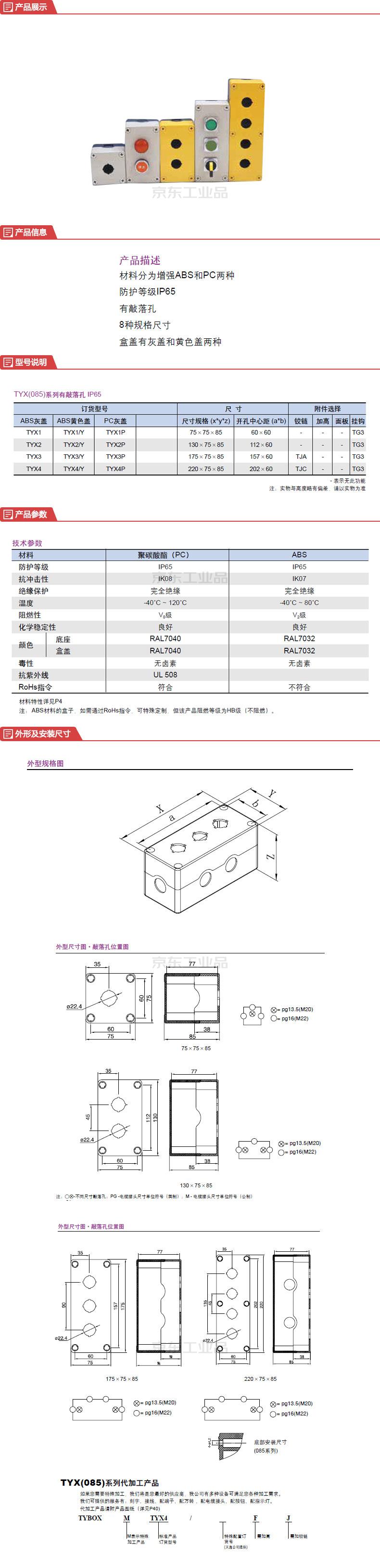 上海天逸电器 按钮盒附件;TYX2