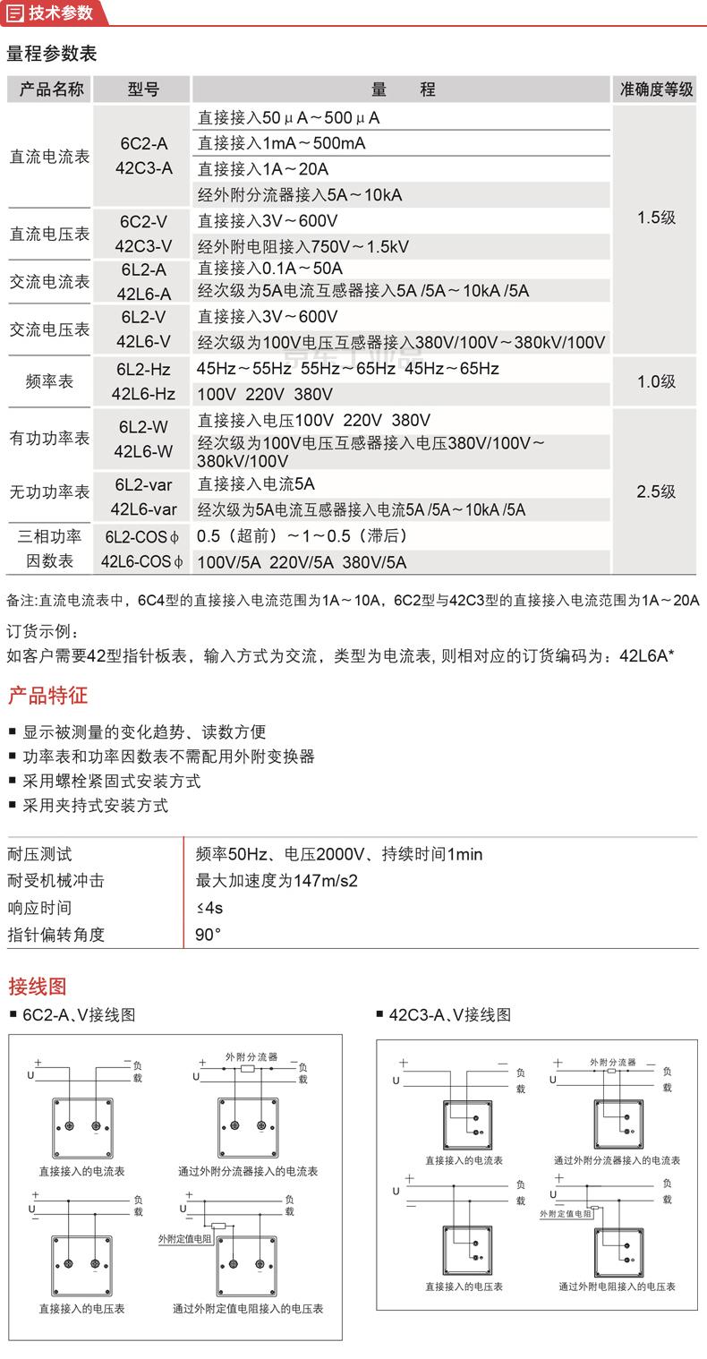 德力西电气 模拟指示电测量仪表;6L2 电流表 30/5