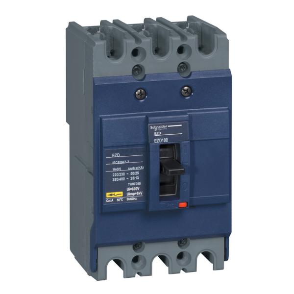 施耐德电气 塑壳断路器 固定式,24个/箱;EZD100E100A 3P3T新
