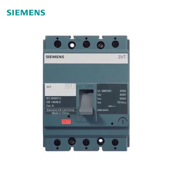 西门子 塑壳断路器 极数3P 额定电流100A 额定极限分断能力25kA 脱扣器类型TMF;3VT100 N100 TMF F/3P
