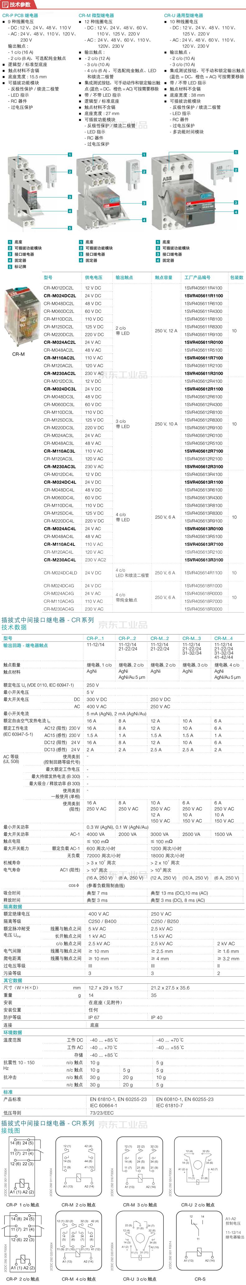 ABB 微型插拔式接口继电器;CR-M125DC4L