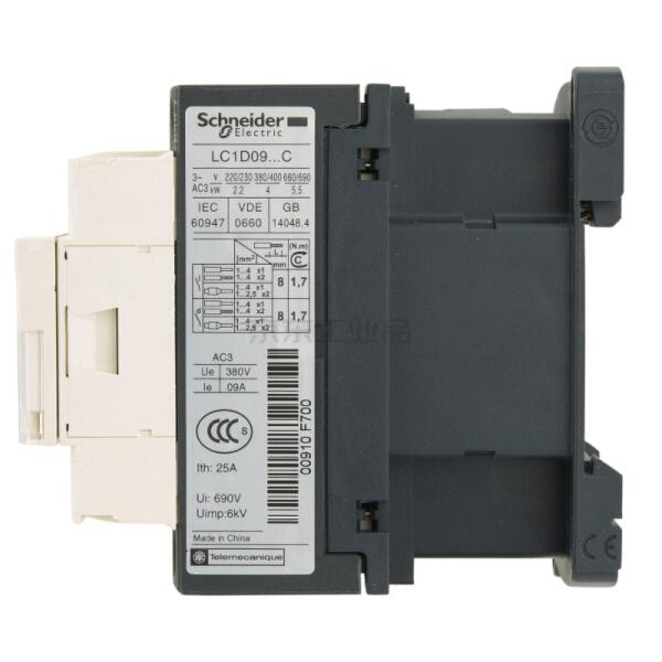 施耐德 国产TeSys LC1D系列三极交流接触器,9A,220V,50/60Hz;LC1D09M7C