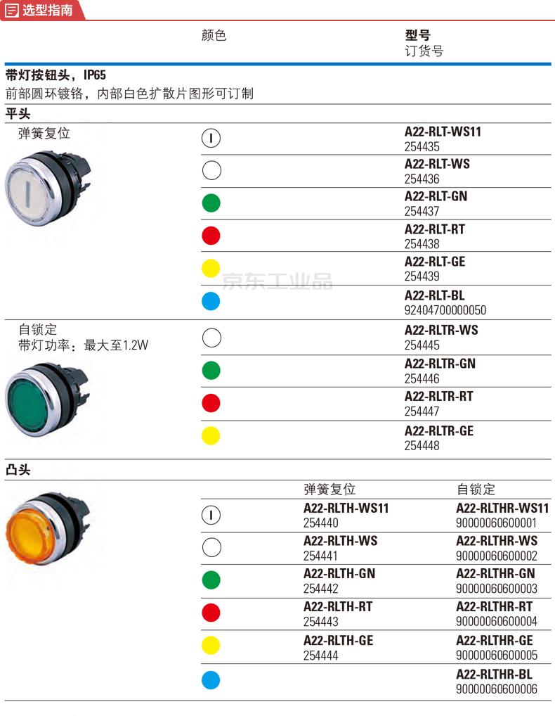 伊顿穆勒 平齐弹簧复位带灯按钮头,黄色;A22-RLT-GE