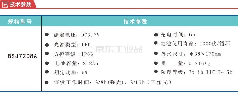 明特佳 BSJ7208A LED防爆电筒,冷白,常规配置;7208AW5B001