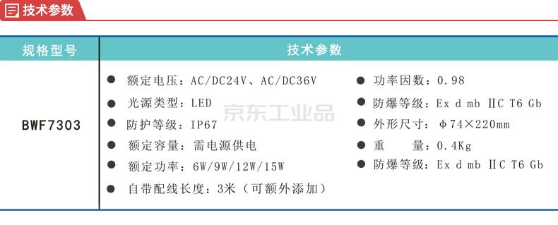 明特佳 BWF7303 便携式工作灯,冷白,常规配置;7303W9B001