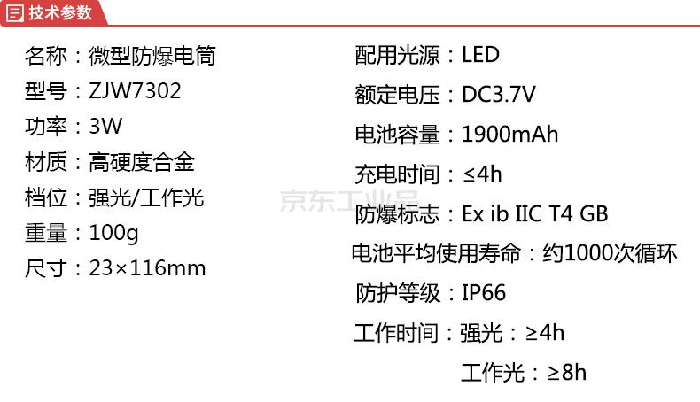 卓安(CNZAM) 微型防爆电筒,3W,白光,手持式;ZJW7302