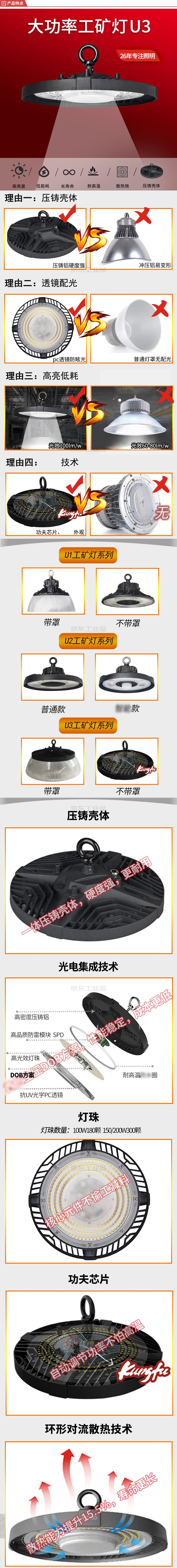 红壹佰(RED100) LED工矿灯工厂车间仓库灯,100W,6500K,IP65,AC100-240V;U3-100W-挂钩-6500K-不带灯罩