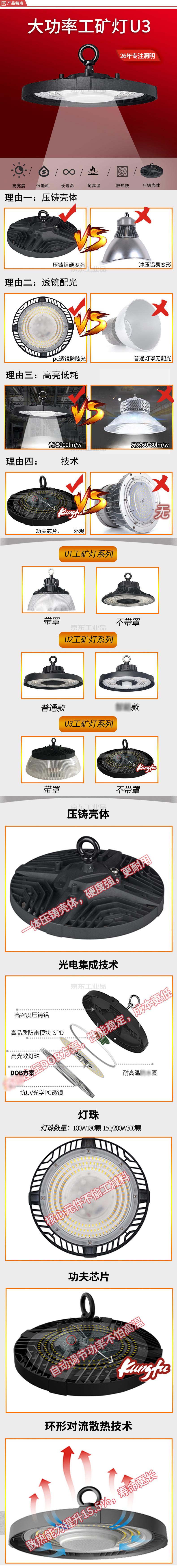 红壹佰(RED100) LED工矿灯工厂车间仓库灯,100W,6500K,IP65,AC100-240V;U3-100W-挂钩-6500K-带灯罩