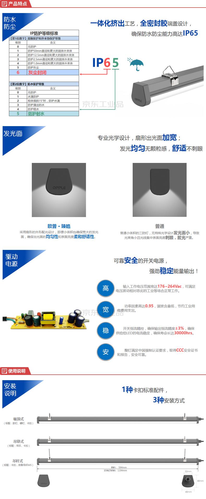 欧普(OPPLE) 三防支架灯-臻皓,功率30W,色温5700K,长度1200mm,产品尺寸48X48mm,PC双色共挤,AC220V;LZJ0212003002-三防支架-臻皓-30W-857