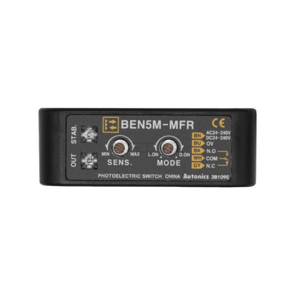 奥托尼克斯 放大器内置型光电传感器 回归反射型 检测距离5m AC/DC24-240V 继电器输出 电缆2m 入光时ON/遮光时ON;BEN5M-MFR