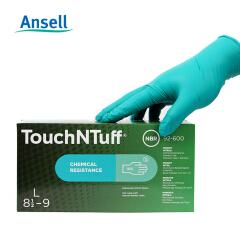 安思尔Ansell 耐磨耐酸耐油工业手套 丁腈橡胶清洁手套 绿色