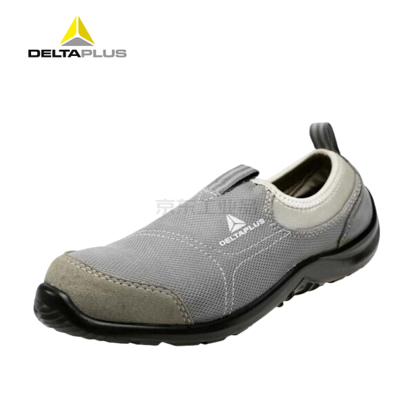 代尔塔 松紧系列S1P安全鞋,防砸防静电防刺穿,灰色+蓝色42;301216-灰色-42