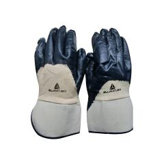代尔塔 涂层手套 NI170 安全袖口重型丁腈3/4;201170-蓝色