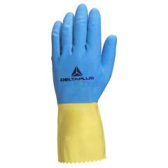 代尔塔 双色乳胶手套 VE330BJ,12双/打,12打/箱;201330-蓝黄色-9