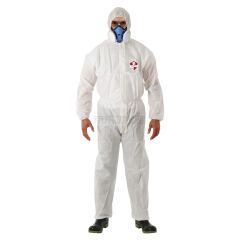 赛立特 50gSMS普抗白色防护服,3片帽子,连袖,线缝,橡筋袖口,双层门襟,贴双面胶,胸前有贴标,L码;KX1000-L