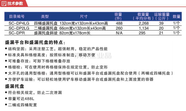 SPC 两桶盛漏托盘,尺寸(mm):1320(长)x660(宽)x430(高);SC-DP2LG