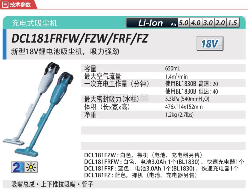 牧田(makita) 充电式吸尘机(白色);DCL181FRFW