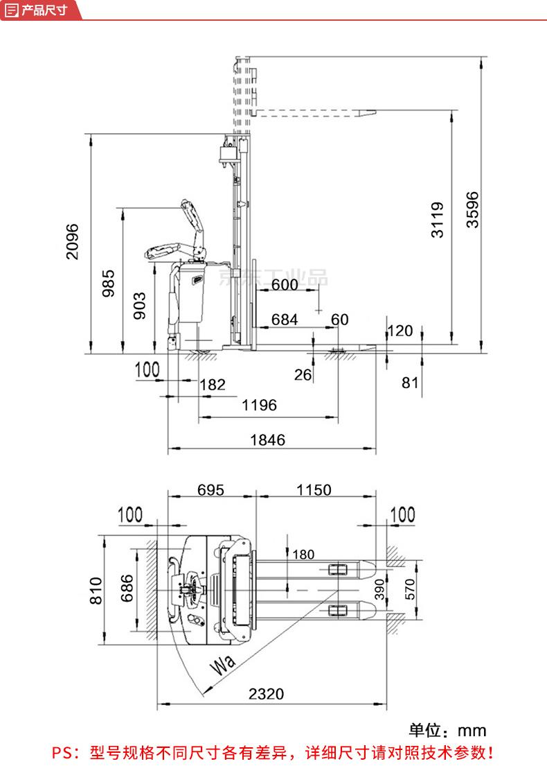诺力 NOBLIFT PS经典系列全电动堆高车;PSB1216-570*1150